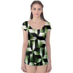 Green Black And White Abstract Background Of Squares Boyleg Leotard