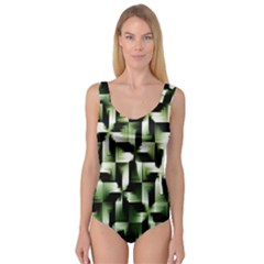Green Black And White Abstract Background Of Squares Princess Tank Leotard