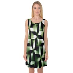 Green Black And White Abstract Background Of Squares Sleeveless Satin Nightdress