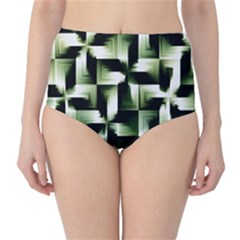 Green Black And White Abstract Background Of Squares High Waist Bikini Bottoms