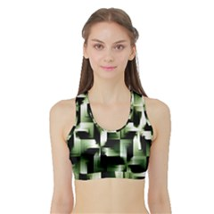 Green Black And White Abstract Background Of Squares Sports Bra with Border