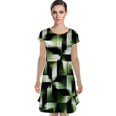 Green Black And White Abstract Background Of Squares Cap Sleeve Nightdress