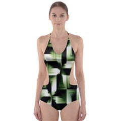 Green Black And White Abstract Background Of Squares Cut-Out One Piece Swimsuit