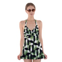 Green Black And White Abstract Background Of Squares Halter Swimsuit Dress