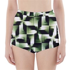 Green Black And White Abstract Background Of Squares High Waisted Bikini Bottoms