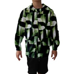 Green Black And White Abstract Background Of Squares Hooded Wind Breaker (kids)
