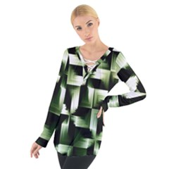 Green Black And White Abstract Background Of Squares Women s Tie Up Tee