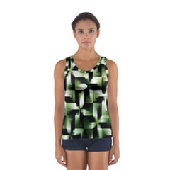 Green Black And White Abstract Background Of Squares Women s Sport Tank Top