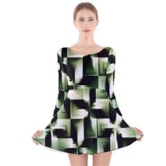Green Black And White Abstract Background Of Squares Long Sleeve Velvet Skater Dress