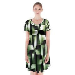 Green Black And White Abstract Background Of Squares Short Sleeve V Neck Flare Dress