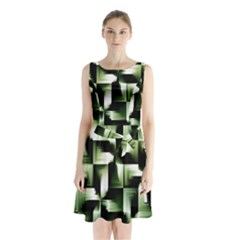 Green Black And White Abstract Background Of Squares Sleeveless Chiffon Waist Tie Dress