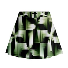 Green Black And White Abstract Background Of Squares Mini Flare Skirt