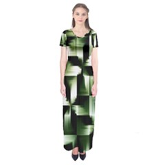 Green Black And White Abstract Background Of Squares Short Sleeve Maxi Dress