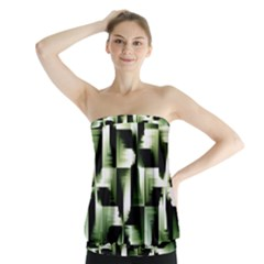 Green Black And White Abstract Background Of Squares Strapless Top