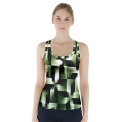 Green Black And White Abstract Background Of Squares Racer Back Sports Top