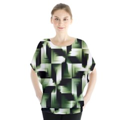 Green Black And White Abstract Background Of Squares Blouse