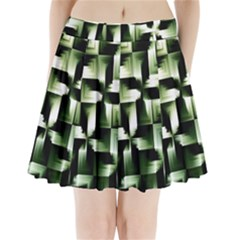 Green Black And White Abstract Background Of Squares Pleated Mini Skirt