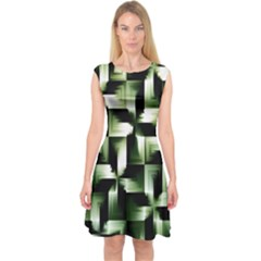 Green Black And White Abstract Background Of Squares Capsleeve Midi Dress