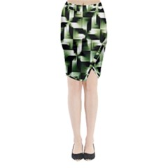 Green Black And White Abstract Background Of Squares Midi Wrap Pencil Skirt