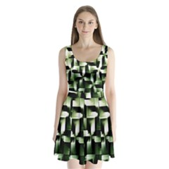 Green Black And White Abstract Background Of Squares Split Back Mini Dress