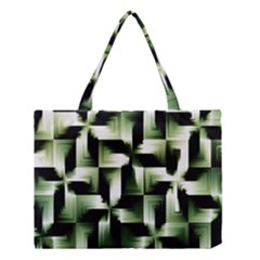Green Black And White Abstract Background Of Squares Medium Tote Bag