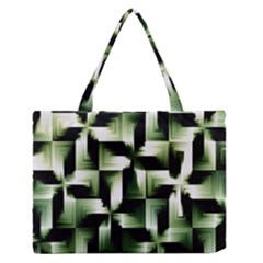 Green Black And White Abstract Background Of Squares Medium Zipper Tote Bag