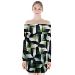 Green Black And White Abstract Background Of Squares Long Sleeve Off Shoulder Dress