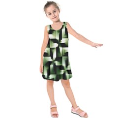Green Black And White Abstract Background Of Squares Kids  Sleeveless Dress