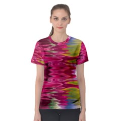 Abstract Pink Colorful Water Background Women s Sport Mesh Tee