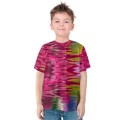 Abstract Pink Colorful Water Background Kids  Cotton Tee