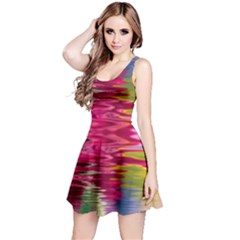 Abstract Pink Colorful Water Background Reversible Sleeveless Dress