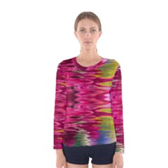 Abstract Pink Colorful Water Background Women s Long Sleeve Tee