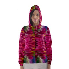 Abstract Pink Colorful Water Background Hooded Wind Breaker (women)