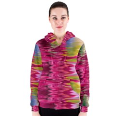 Abstract Pink Colorful Water Background Women s Zipper Hoodie