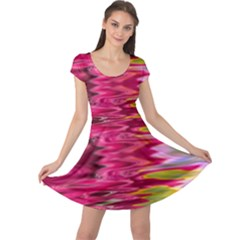 Abstract Pink Colorful Water Background Cap Sleeve Dresses