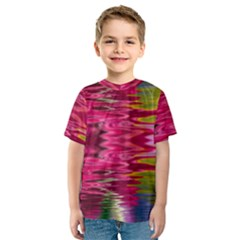 Abstract Pink Colorful Water Background Kids  Sport Mesh Tee