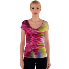 Abstract Pink Colorful Water Background Women s V-Neck Cap Sleeve Top