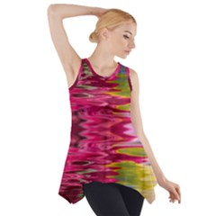 Abstract Pink Colorful Water Background Side Drop Tank Tunic
