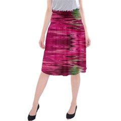 Abstract Pink Colorful Water Background Midi Beach Skirt