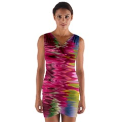 Abstract Pink Colorful Water Background Wrap Front Bodycon Dress