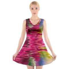 Abstract Pink Colorful Water Background V-Neck Sleeveless Skater Dress