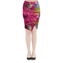 Abstract Pink Colorful Water Background Midi Wrap Pencil Skirt