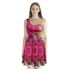 Abstract Pink Colorful Water Background Split Back Mini Dress