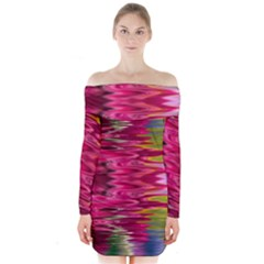 Abstract Pink Colorful Water Background Long Sleeve Off Shoulder Dress