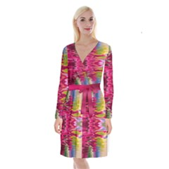 Abstract Pink Colorful Water Background Long Sleeve Velvet Front Wrap Dress