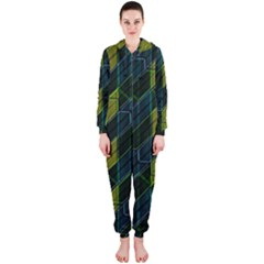 Modern Geometric Seamless Pattern Hooded Jumpsuit (Ladies)
