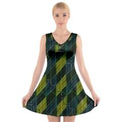Modern Geometric Seamless Pattern V-Neck Sleeveless Skater Dress