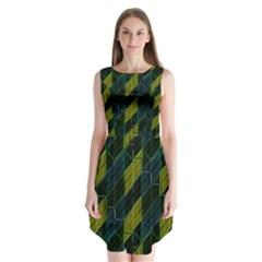 Modern Geometric Seamless Pattern Sleeveless Chiffon Dress