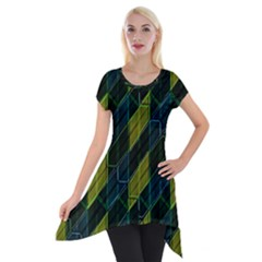 Modern Geometric Seamless Pattern Short Sleeve Side Drop Tunic