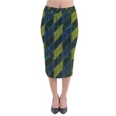Modern Geometric Seamless Pattern Velvet Midi Pencil Skirt